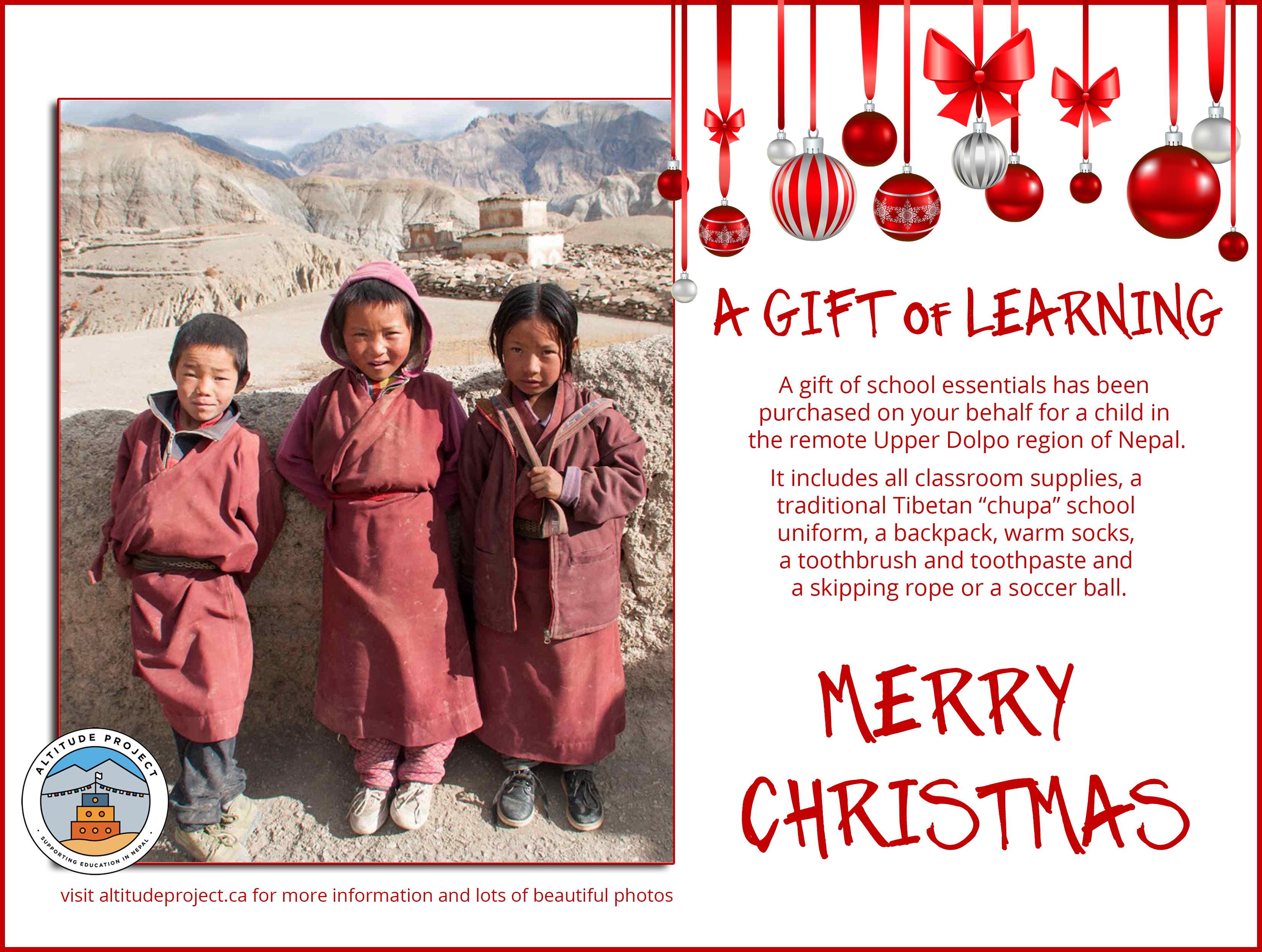 A GIFT of LEARNING 3 students